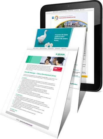 Designvorlage erstellen und schalten auf Jobbörse Gesundheitswirtschaft